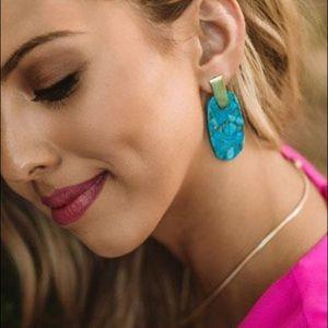 KS Aragon drop Earrings gold & veined turquoise